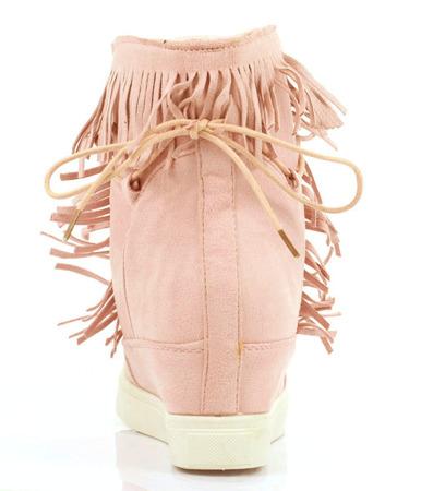Różowe sneakersy z frędzlami na krytym koturnie Kennedy - Obuwie