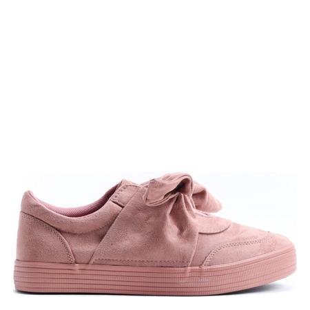Różowe sportowe buty wiązane wstążką Viculio - Obuwie