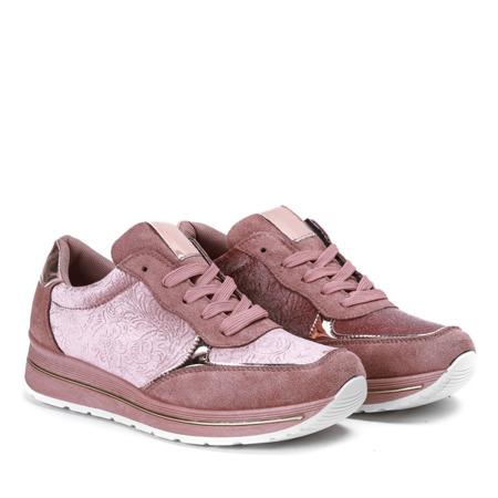 Różowe sportowe buty z welurem Jessy - Obuwie