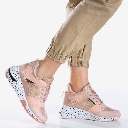 Różowe sportowe sneakersy damskie na koturnie Acanta - Obuwie