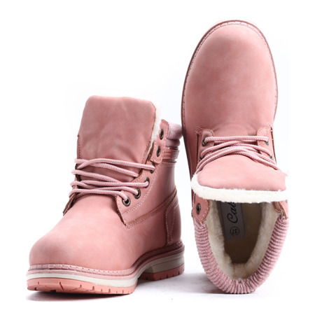 Różowe traperki ocieplane - Obuwie