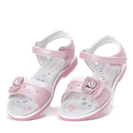 Różowo-białe dziewczęce sandały z aplikacją Ran- Obuwie