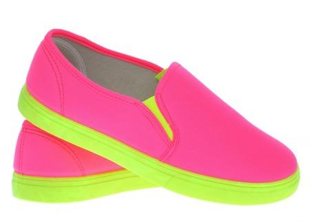 Różowo-neonowe trampki slip on Borutta - Obuwie