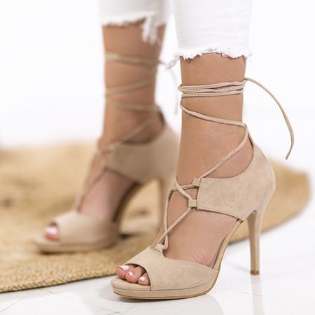 Sandały wiązane na szpilce z wycięciami w kolorze beżowym Jafet - Obuwie