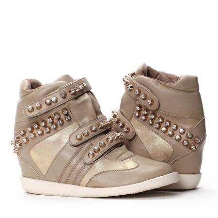 Sneakersy na koturnie-kolor khaki - Obuwie