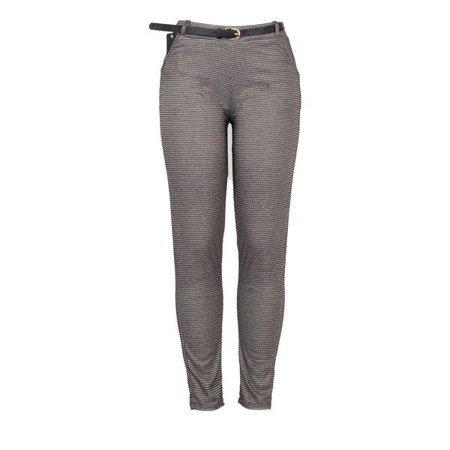 Spodnie w brązową pepitkę PLUS SIZE - Spodnie
