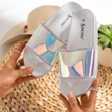 Srebrne klapki z holograficznym paskiem Blide - Obuwie