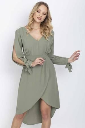 Sukienka w kolorze khaki z ozdobnymi wycięciami - Odzież