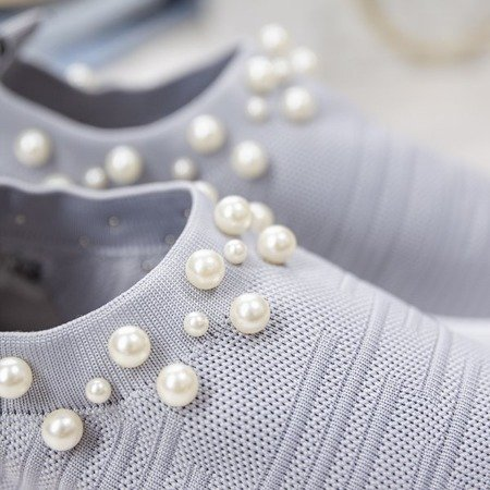 Szare buty sportowe z perełkami Dayanah - Obuwie