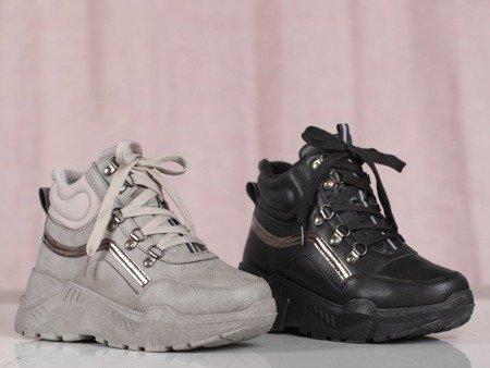 Szare buty sportowe z wysoką cholewką Pesthane - Obuwie