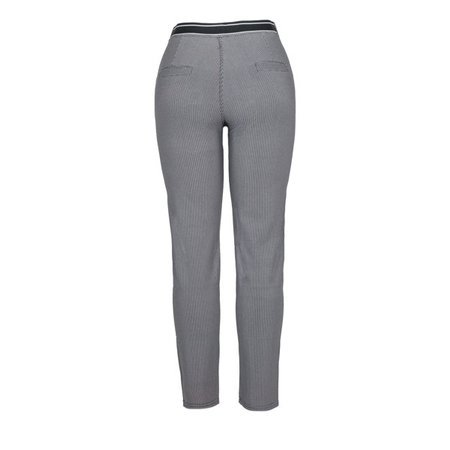 Szare - czarne spodnie w drobną pepitkę - Spodnie