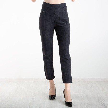 Szare eleganckie spodnie w kratkę na gumkę - Spodnie
