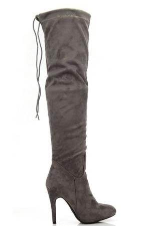 Szare kozaki na szpilce za kolano Bealiena - Obuwie