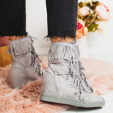 Szare sneakersy na koturnie Alesi - Obuwie