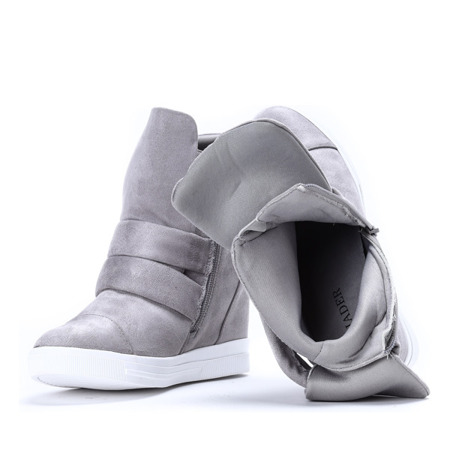 Szare sneakersy na krytym koturnie My Little Love- Obuwie