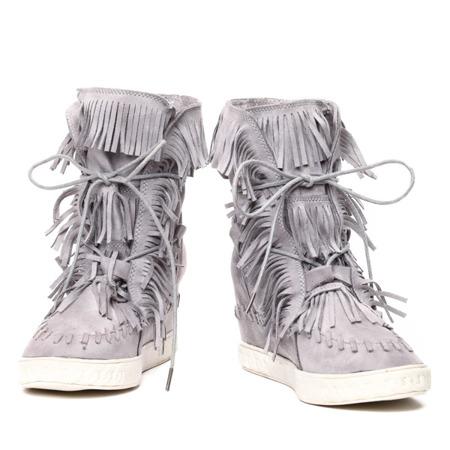 Szare sneakersy na krytym koturnie z frędzlami - Obuwie