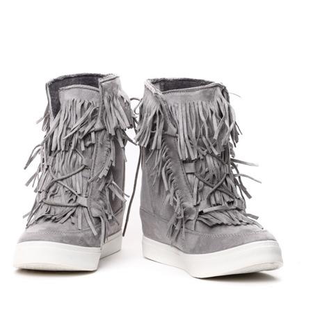 Szare sneakersy z frędzlami na krytym koturnie Kennedy - Obuwie