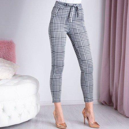 Szare spodnie materiałowe w kratkę - Spodnie