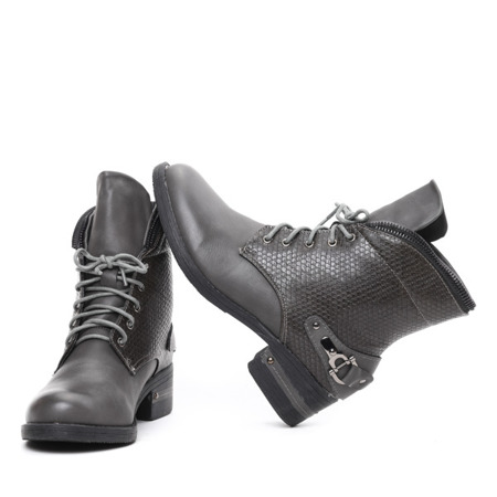 Szare, sznurowane botki - Obuwie