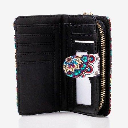 Wzorzysty mały portfel damski w kolorze niebieskim - Portfel