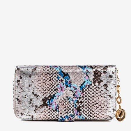 Wzorzysty portfel damski a'la skóra węża w kolorze szarym - Portfel