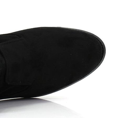 Zamszowe, czarne botki - Obuwie
