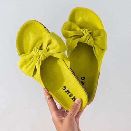 Zielone klapki damskie z kokardką Sun and Fun - Obuwie