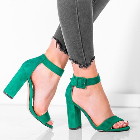 Zielone sandały na wysokim słupku Rosalina - Obuwie