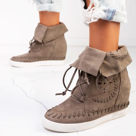 Zielone sneakersy na krytym koturnie Cinta - Obuwie