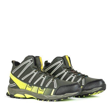 Zielone sportowe męskie buty trekkingowe z neonową żółtą wstawką Everest - Obuwie