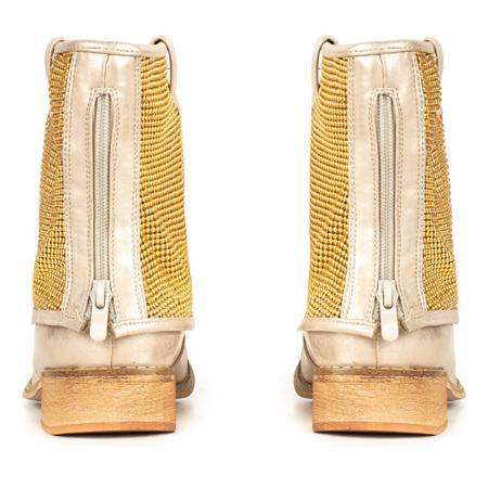 Złote botki z wywijaną cholewką Taniya - Obuwie