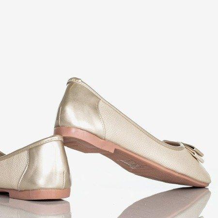 Złote damskie baleriny z kokardą Liz - Obuwie