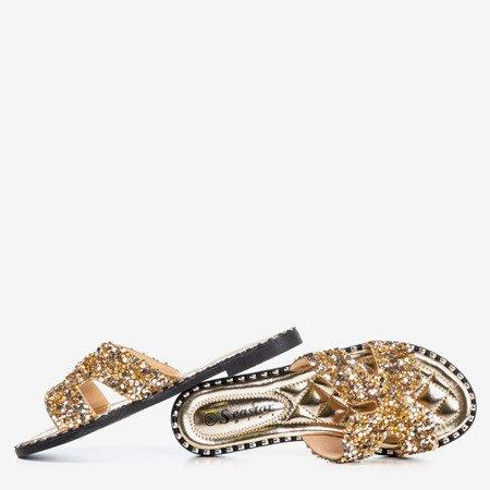 Złote damskie klapki z cekinami Hemessa - Obuwie