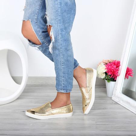 Złote slip on z lakierowanym noskiem - Obuwie