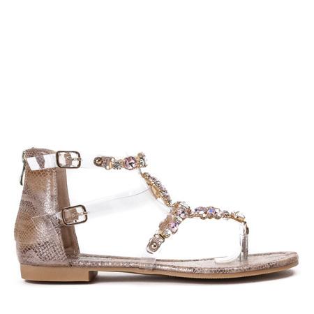 Złoto-różowe sandały japonki z cyrkoniami Marcela - Obuwie