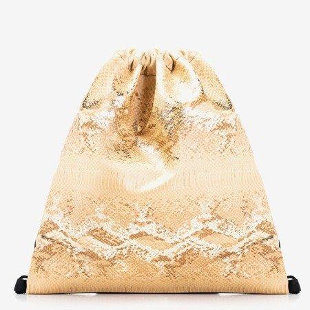 Złoty worek z tłoczeniem a'la skóra węża - Plecaki