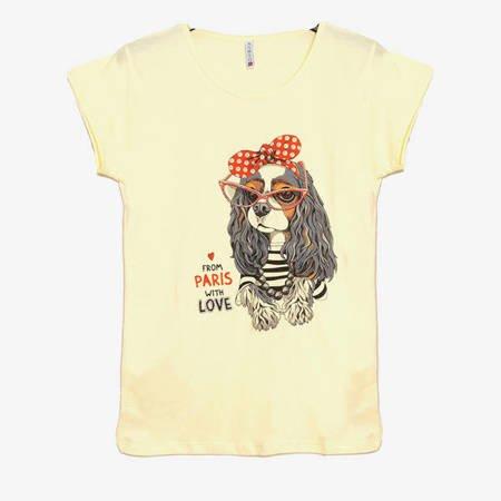 Żółta damska koszulka z nadrukiem pieska - Odzież
