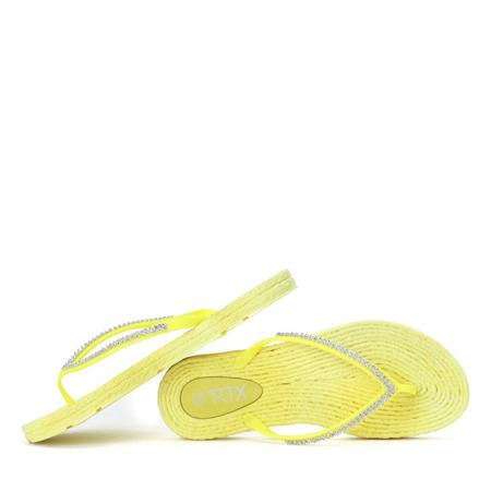Żółte klapki japonki z cyrkoniami Blumena - Obuwie