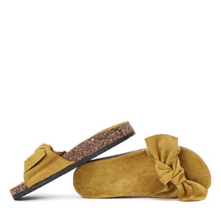 Żółte klapki z kokardką Betina - Obuwie