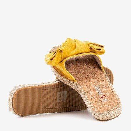Żółte klapki z kokardką Playa - Obuwie