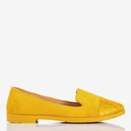 Żółte mokasyny damskie z ozdobnym tłoczeniem Lopsa - Obuwie