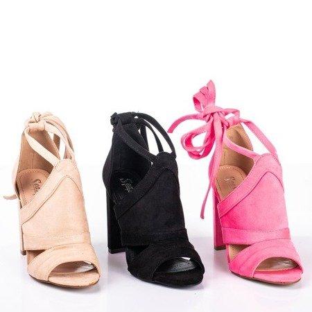 Żółte sandały damskie na wyższym słupku z cholewką Lanaline - Obuwie