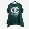 Ciemnozielona damska tunika z napisami - Odzież
