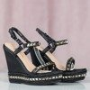 Czarne sandały na koturnie z ćwiekami Keladilia - Obuwie