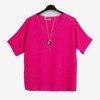 Fuksjowa damska bluzka z krótkim rękawem - Odzież