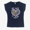 Granatowy damski t-shirt z serduszkiem - Odzież