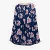 Kobaltowa plisowana spódnica midi z nadrukiem w kwiaty - Odzież