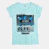 Miętowy t-shirt damski z nadrukiem - Bluzki