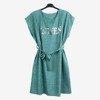 Zielono - niebieska damska sukienka z napisem - Odzież